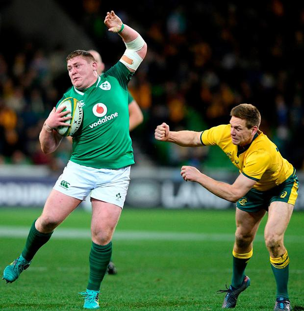 Ireland's Tadhg Furlong escapes a tackle. Photo: Andy Brownbill/AP Photo
