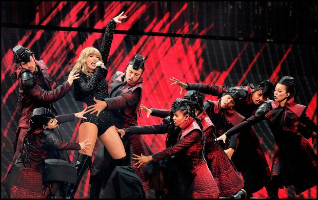 Taylor Swift on stage during her Reputation Tour at Croke Park. Photo: Steve Humphreys
