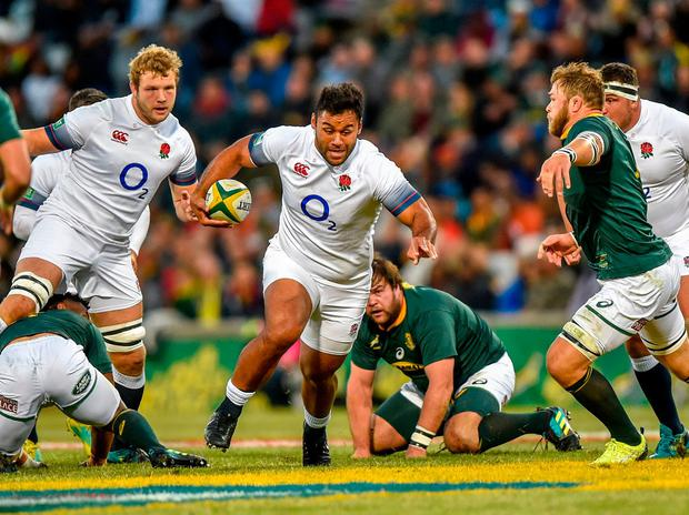 England's Billy Vunipola and South Africa's Duane Vermeulen, right, in action. Photo: Christiaan Kotze/AP Photo