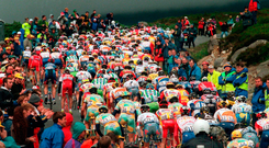 The peloton makes its way up the Wicklow Gap during the Tour de France 1998. Photo: Sportsfile