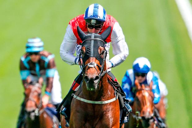 Adam Kirby riding Connect to win at the Derby meeting at Epsom earlier this month. Photo: Alan Crowhurst/Getty Images