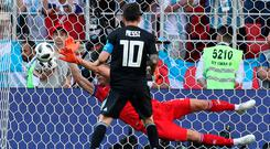 Iceland's Hannes Por Halldorsson saves a penalty from Lionel Messi. 'I had looked at a lot of penalties from Messi and I had a good feeling he would go that way today'. Photo: Reuters