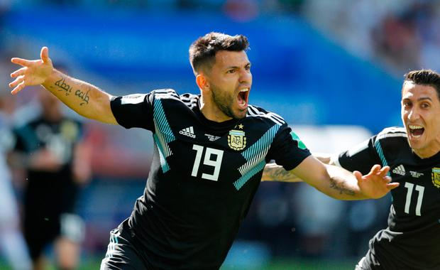 Argentina's Sergio Aguero celebrates after scoring his side's goal during the match against Iceland. Photo: Victor Caivano/AP
