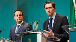 SOLUTIONS, NOT SOUNDBITES: Taoiseach Leo Varadkar and Minister for Health Simon Harris during the government press conference on the cervical cancer controversy