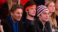 Liam Neeson and sons Daniel and Micheál in 2014