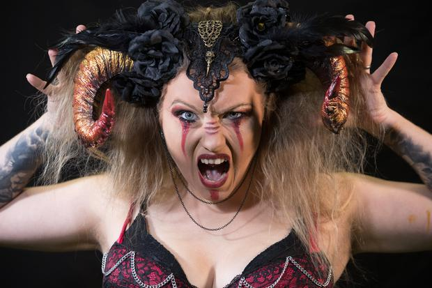WOOKEY HOLE, ENGLAND - OCTOBER 19: Asia Sawicka as Anastasia IV poses for a photograph prior to a rehearsal of the Circus of Horrors' latest show Voodoo (Photo by Matt Cardy/Getty Images)