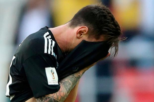 Argentina's Lionel Messi looks dejected after the match