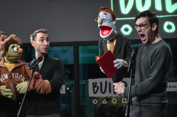 NEW YORK, NY - JANUARY 13: Actors/puppeteers Kerri Brackin, Jason Jacoby and Ben Durocher from the cast of 'Avenue Q' perform at the Build series at Build Studio on January 13, 2017 in New York City. (Photo by Mike Coppola/Getty Images)