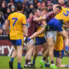 9 July 2017; Damien Comer of Galway tussles with John McManus of Roscommon late in the Connacht GAA Football Senior Championship Final match between Galway and Roscommon at Pearse Stadium in Galway. Photo by Ramsey Cardy/Sportsfile