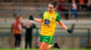 Geraldine McLaughlin celebrates after scoring Donegal's seventh goal during yesterday's Ulster final. Photo: Daire Brennan/Sportsfile