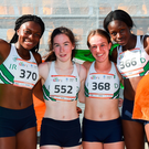 Team Ireland's relay team at last year's European Youth Olympic Festival – from left, Patience Jumbo-Gula from Dundalk, Niamh Foley from Newcastle West, Miriam Daly from Carrick-on-Suir and Rhasidat Adeleke from Tallaght after claiming third place in the women's 4x100m relay during the championships at Olympic Park in Gyor, Hungary. Photo: Sportsfile