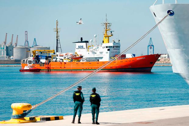 The Aquarius rescue ship enters the port of Valencia. Photo: PAU BARRENA/AFP/Getty Images