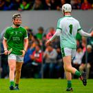 Limerick's Bryan Heavey, right, and Ben Herlihy celebrate after the match. Photo: Ray McManus/Sportsfile