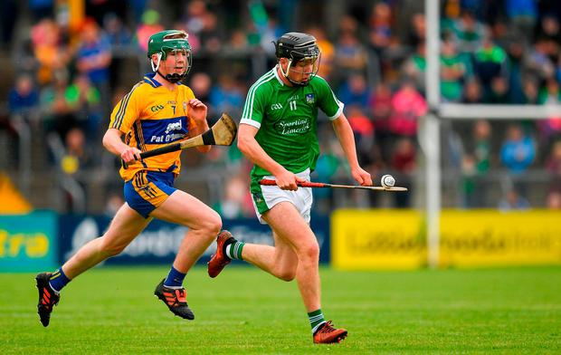 Cormac Ryan breaks away for Limerick during the Munster Minor Hurling Championship semi-final. Photo: Ray McManus/Sportsfile