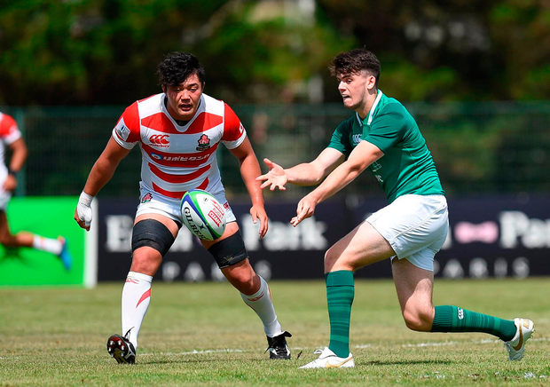 Harry Byrne of Ireland in action against Ryuga Hashimoto of Japan during the World Rugby U20 Championship 2018. Photo: Sportsfile