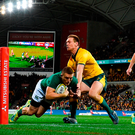 Andrew Conway of Ireland scores his side's first try during the 2018 Mitsubishi Estate Ireland Series 2nd Test match between Australia and Ireland at AAMI Park, in Melbourne, Australia. Photo by Brendan Moran/Sportsfile