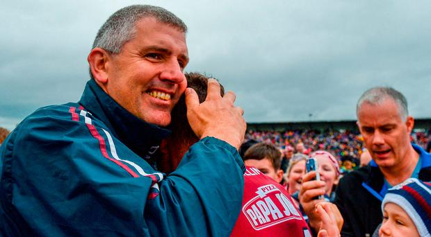 Galway manager Kevin Walsh celebrates with his captain Damien Comer after their Connacht GAA Football Senior Championship victory. Photo: Piaras Ó Mídheach/Sportsfile