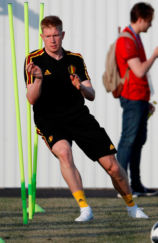 Belgium's Kevin De Bruyne during training. Photo: Reuters