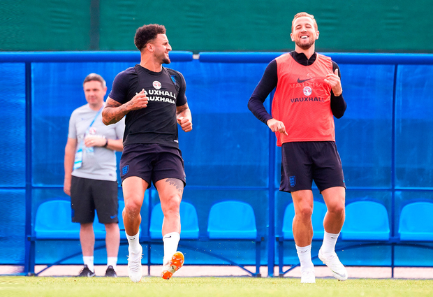 Kyle Walker and Harry Kane of England enjoy a training session. Photo: Getty Images