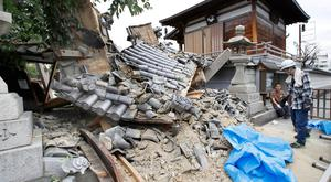 Damaged Myotoku-ji temple caused by an earthquake is seen in Ibaraki, Osaka prefecture, western Japan, in this photo taken by Kyodo June 18, 2018. Mandatory credit Kyodo/via REUTERS