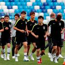 South Korea's squad during training REUTERS/Carlos Barria