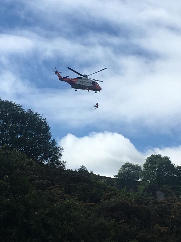The woman being airlifted to hospital Photo: Dublin Fire Brigade