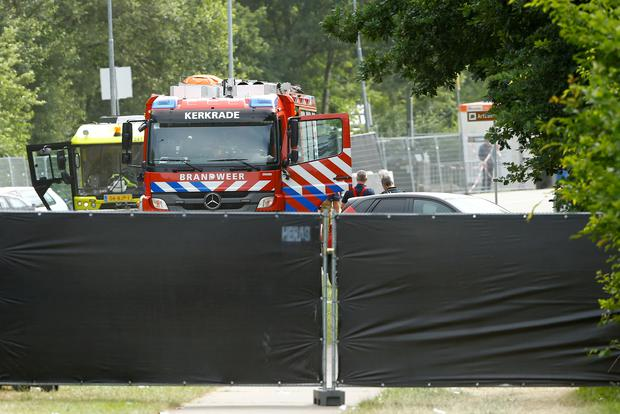 A fire truck is seen near an incident scene where a van struck into people after a concert at the Pinkpop festival in Landgraaf, the Netherlands June 18, 2018. REUTERS/Thilo Schmuelgen