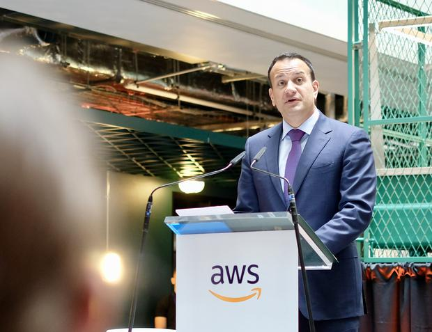 Taoiseach Leo Varadkar at the announcement today Picture: Adrian Weckler