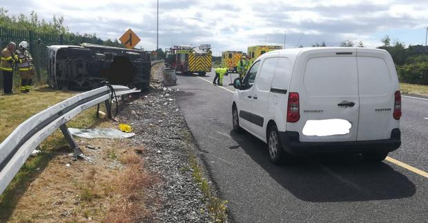 The van overturned on the M50 earlier Photo: M50 Twitter