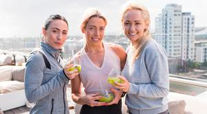 Orla Hopkins, Jennie Murphy and Leanne Moore at the launch of Rooftop Yoga at The Marker with Lululemon. Picture: Richie Stokes
