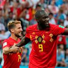 Soccer Football - World Cup - Group G - Belgium vs Panama - Fisht Stadium, Sochi, Russia - June 18, 2018 Belgium's Romelu Lukaku celebrates scoring their second goal with Dries Mertens. REUTERS/Marcos Brindicci