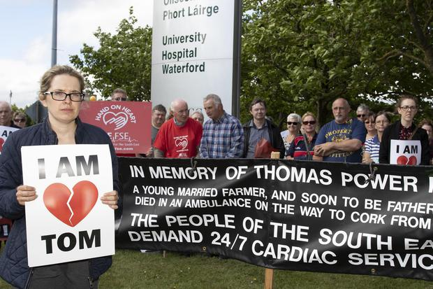 Catherine Power sister of Thomas at the vigil for 24/7 cardiac service at University hospital Waterford. Photo:Mary Browne