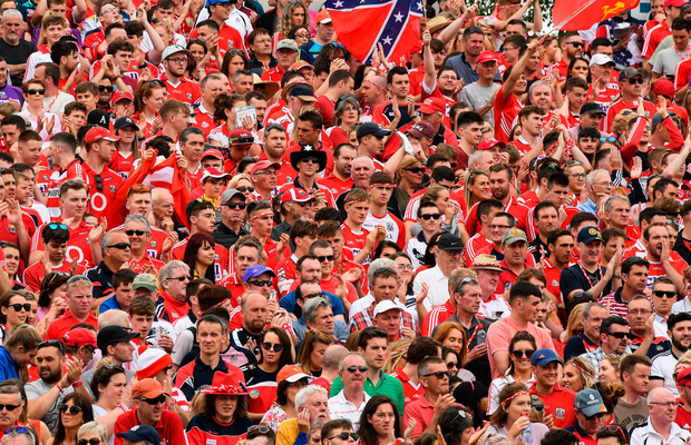 9 July 2017; Cork supporters, on the terraces, before the Munster GAA Hurling Senior Championship Final match between Clare and Cork at Semple Stadium in Thurles, Co Tipperary. Photo by Ray McManus/Sportsfile
