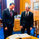 Taoiseach Leo Varadkar held a formal meeting with Apple boss Tim Cook this evening Photo: Twitter/Leo Varadkar