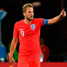 England's forward Harry Kane celebrates his second against Tunisia Photo: AFP/Getty