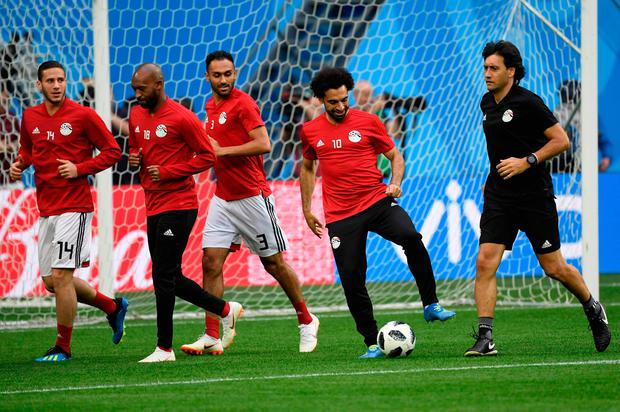 Mohamed Salah takes control of the ball during an Egyptian training session in Saint Petersburg. Photo: AFP/Getty Images