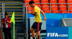 Colombia's James Rodriguez takes part in a training session at the Mordovia Arena in Saransk. Photo: AFP/Getty Images
