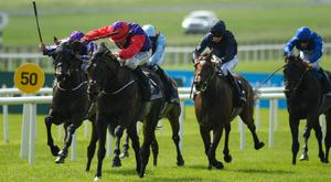 Romanised, with Shane Foley up, second from left, on their way to winning the Tattersalls Irish 2,000 Guineas Group 1 race during this year's Curragh Races Irish 2,000 Guineas Day at the Curragh in Kildare. Photo: Ray McManus/SPORTSFILE