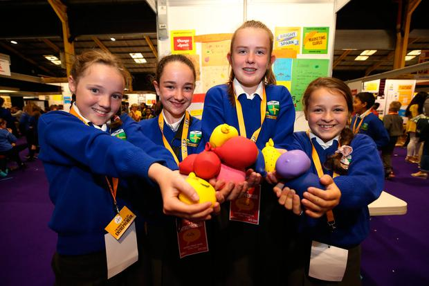 From left to right: Clodagh Jordan, Kate Wilson, Grace Drumgoole and Ava Crean, all aged 12, from Kilcoole Primary School in Co Wicklow, with their project 'Spectacular Stress Balls' at the Junior Entrepreneur Programme at the RDS. Photo: Damien Eagers