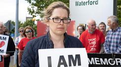 Catherine Power, sister of Thomas, at the vigil at University Hospital, Waterford. Photo: Mary Browne