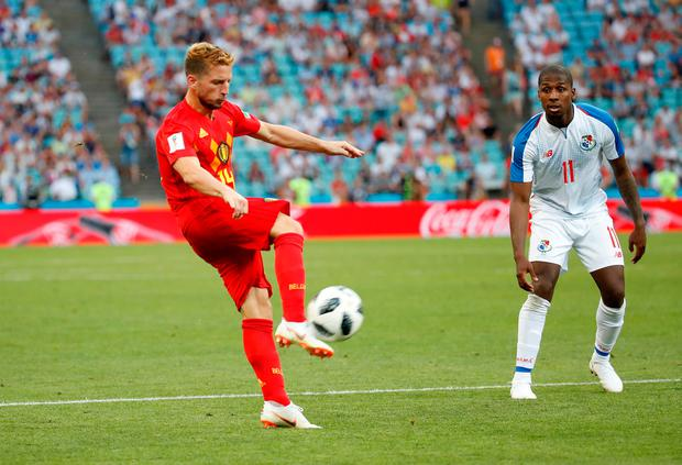 Dries Mertens volleys Belgium into the lead. Photo: REUTERS/Francois Lenoir