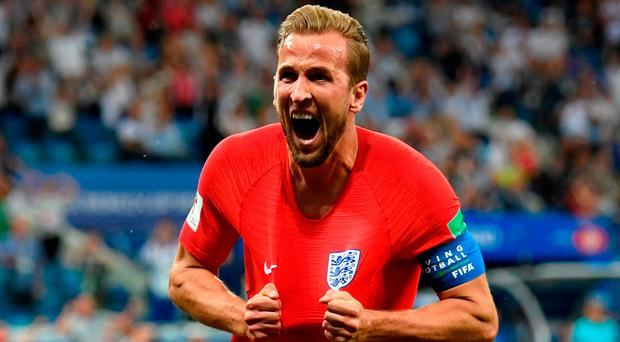 ON THE DOUBLE: England captain Harry Kane celebrates scoring his team's winner in injury time during the World Cup Group G clash with Tunisia at the Volgograd Arena. Photo: Matthias Hangst/Getty Images