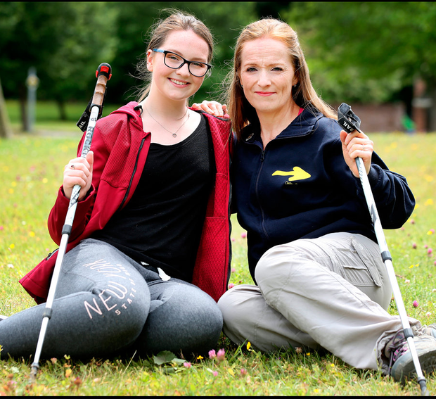 A break from the norm: Aisling Fennell and her mum Barbara Byrne are going away to walk part of the Camino after Aisling's exams Pic: Steve Humphreys