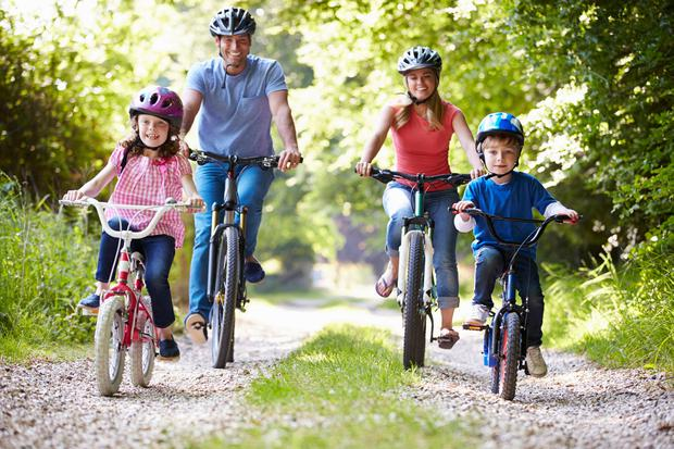 Cycling through countryside is a great family activity