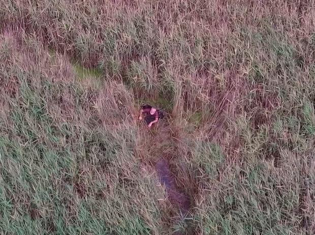 Handout drone image dated 17/06/18 issued by Norfolk Constabulary of missing man Peter Pugh,75, from Brancaster, who became stuck in very dense reed beds and marshland at Titchwell on the North Norfolk coast near Brancaster beach and was located by police using a drone. Norfolk Constabulary/PA Wire