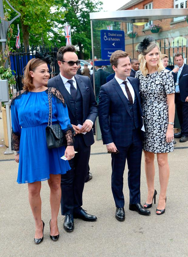 (L-R) Lisa Armstrong, presenter Anthony McPartlin, presenter Declan Donnelly and Ali Astall attend Royal Ascot 2015 at Ascot racecourse on June 16, 2015 in Ascot, England. (Photo by Kirstin Sinclair/Getty Images for Ascot Racecourse)
