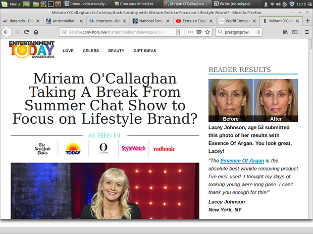 Liveline caller Vicki McNulty of Galway explained how she had ordered anti-wrinkle cream from what was advertised as the RTE presenter's new skin care line: TryVix. Photo: RTE
