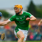 17 June 2018; Podge Collins of Clare in action against Richie English of Limerick during the Munster GAA Hurling Senior Championship Round 5 match between Clare and Limerick at Cusack Park in Ennis, Clare. Photo by Ray McManus/Sportsfile