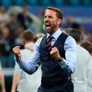 Soccer Football - World Cup - Group G - Tunisia vs England - Volgograd Arena, Volgograd, Russia - June 18, 2018 England manager Gareth Southgate celebrates after the match REUTERS/Sergio Perez