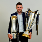 26 May 2018; Fergus McFadden of Leinster with the Champions Cup and PRO14 trophies following the Guinness PRO14 Final between Leinster and Scarlets at the Aviva Stadium in Dublin. Photo by Ramsey Cardy/Sportsfile